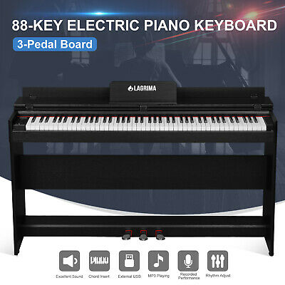 88 Key Music Keyboard W/Stand+Adapter+3-Peda Electric Digital LCD Piano  Board