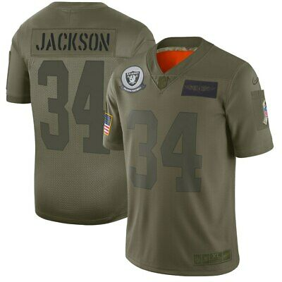 Men's Oakland Raiders Bo Jackson Olive 2019 Salute to Service Retired Limited Je
