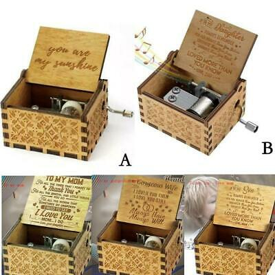 "Wooden Engraved Music Box Gift ""You Are My Sunshine"" For Mom/Dad To Daughter/Son"