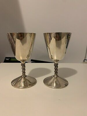 Pair Vintage Silver Plated Wine Champagne Goblets Primrose Plate E.P Brass