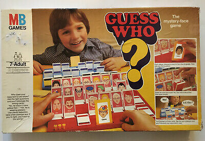 Guess Who Vintage Classic Board Game 1980 MB Games With 14 Pegs and 24 Cards