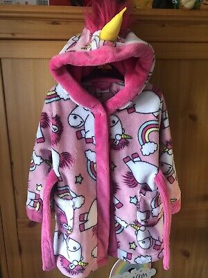 Girls Age 2-3 Unicorn Minions Dressing Gown Sleep Wear Excellent Condition