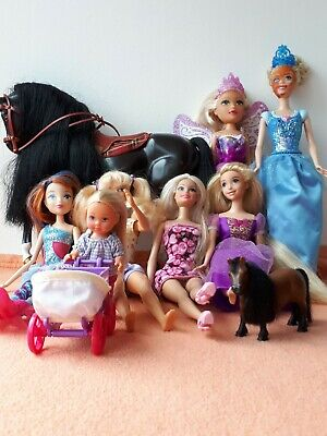 BARBIE - Mixed Bundle of Barbie Dolls, Dolls by Other Makes & Horses (9 items)