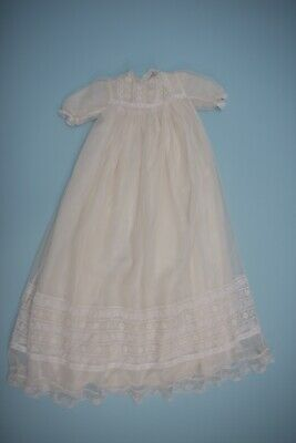 Vintage 1930s Cream Lace silk lined Baby / Doll Christening Gown