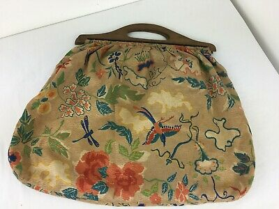 Vintage Knitting / Wool / Sewing Bag With Wooden Handles
