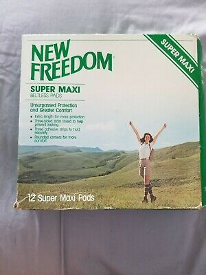 Open box Vintage 1981 New Freedom Beltless Super Maxi Pads 12 count missing 1