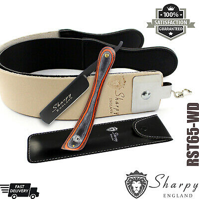 Sharpy - Wet Cut Throat Straight Razor with Raw Cowhide Leather Strop Strap Belt