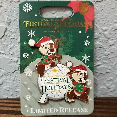 2019 Disney Parks Epcot Festival of the Holidays Limited Release Chip & Dale Pin