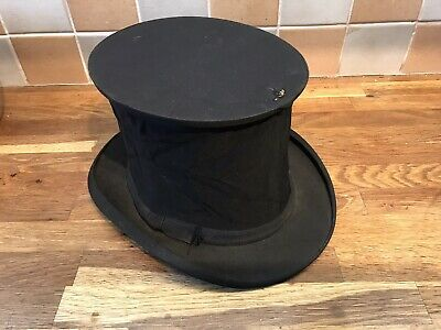 Vintage Folding Collapsible Victorian Opera Black Top Hat