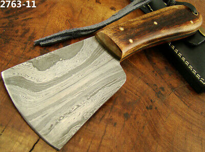 Handmade Damascus Steel Axe Saddlers Leather Cutting Edge Skiving Tool (2763-11
