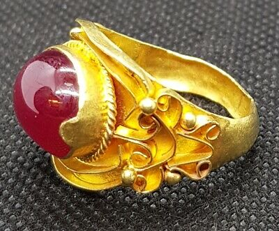 Rare Found Burma Natural Red Ruby Stone 20k Antique Gold Wonderful Unique Ring