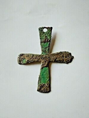 Ancient Byzantine Bronze  Cross Pendant