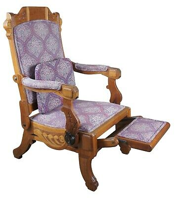 Antique 1883 DB Hartley American Walnut Carved Reclining Victorian Arm Chair