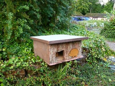 Wooden Hedgehog house/ Hibernation nesting box/ hand made from Larch slab wood