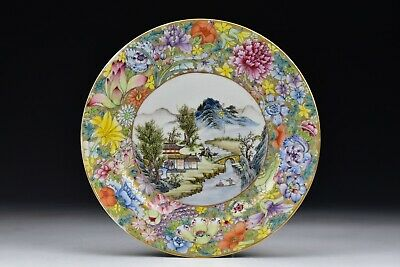 Signed Chinese Famille Rose Porcelain Plate with Flowers and Character Scene