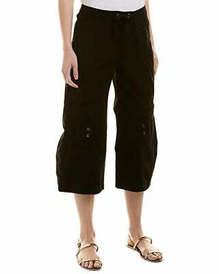 New $150 XCVI Women's Black Stretch Mid-Rise Cargo Cropped Casual Pants Size S
