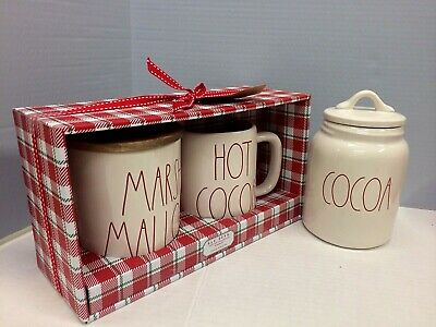 New Rae Dunn MARSHMALLOW Cellar COCOA Mug Gift Set & COCOA Canister Red Letters
