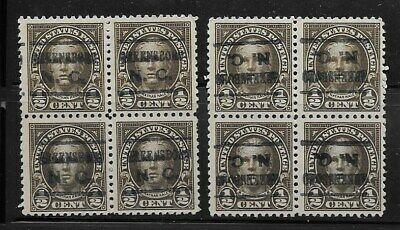 North Carolina Precancels - Greensboro L-8 - 2 Blocks of 1/2c 1926 Issue