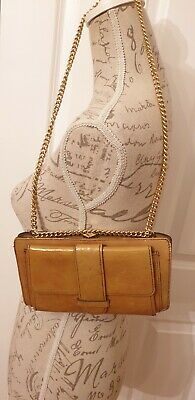 Harmony Vintage Handbag/ purse  Tan Patent Leather Gold Chain clutch style