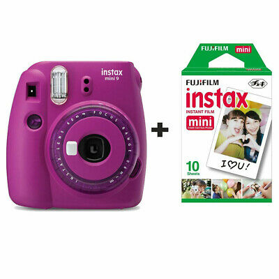 Fujifilm Instax Mini 9 Clear Purple Instant Film Camera - Including 10 Shots