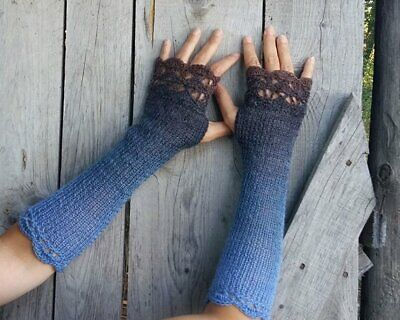 Handmade Knit Wool Fingerless Womens Long Gloves Sky Blue to Stone Grey OS