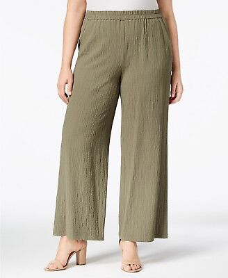 JM Collection Plus Pull On Textured Wide-Leg Pants Olive 2X