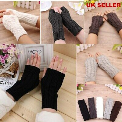 Women Ladies Winter Mitten Warm Fingerless Wrist Arm Gloves Knitted Soft Hand