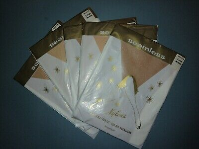 5 Pairs Vintage Nylon Stockings Rejects Unopened Large Tan