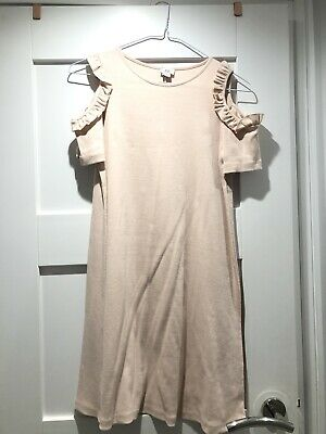 GIRLS RIVER ISLAND DRESS PINK COTTON BODYCON COLD SHOULDER AGE 11-12 Years BNWT