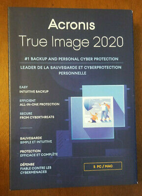 ACRONIS TRUE IMAGE 2020 5 Computers New Sealed Box Ships FAST FREE 3 Day !!