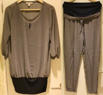 Smart Size 12 Patterned Maternity Bundle: Esprit blouse and M&S trousers