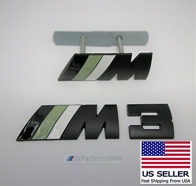 Set of 2 Black Metal M3 Badge Front Grille And Rear Trunk Fits BMW M3 MPower