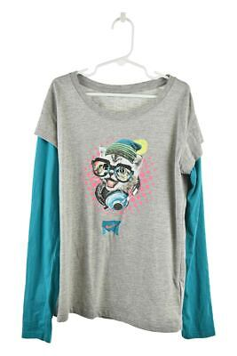 Nike Girls Tops Graphic Tees L Grey Cotton