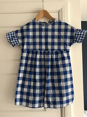 Marks & Spencer Girls Blue Gingham Tunic Top 6-7 Years Ex Cond