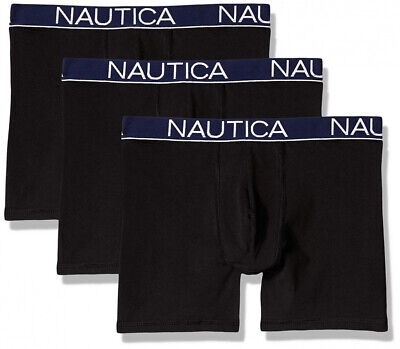 Nautica Men's 3-Pack Classic Underwear Cotton Stretch Boxer Brief, Black,...