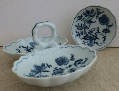 BLUE DANUBE Japan blue & white Divided SERVING DISH with handle & BOWL- DISH