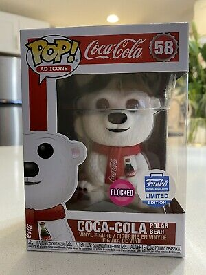 Funko POP! Ad Icons COCA-COLA POLAR BEAR Funko Shop #58 Flocked IN HAND
