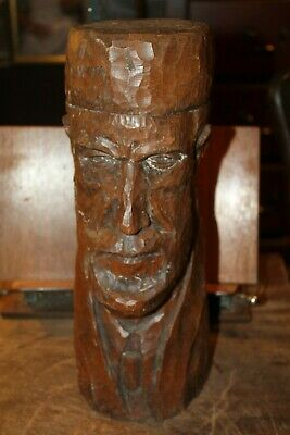 Antique Heavy Hand Carved Bust of a Man in A Suit Kufi or Smoking Hat 14""