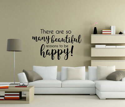 There are so many reasons to be happy Wall Stickers Quote Home decor UK qw43