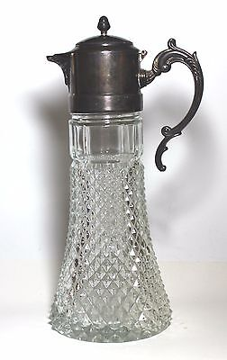 Vintage Pressed glass Silverplate  Claret Pitcher w/chill tube