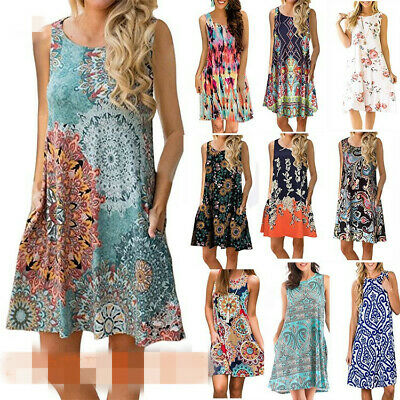 Summer Women Floral Midi Tank Print Unifizz Sundress Loose Sleeveless Boho Dress