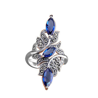 Women's 925 Silver Plated Ring Elegant Wedding Sapphire Finger Rings Jewelry
