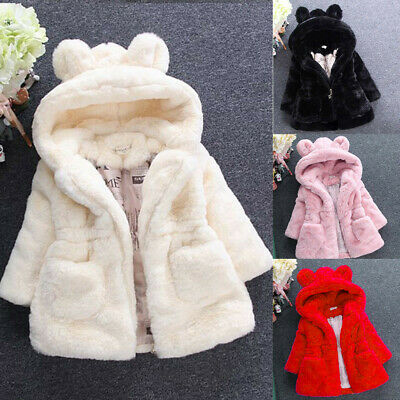 Baby Infant Kids Girl Winter Fur Hooded Coat Cloak Jacket Clothes Outwear Tops