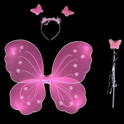 Cute Kids Girls Fairy Butterfly Wing Wand Fancy Dress Dance Party Costum VGE