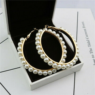 Ladies Vintage Pearl Earring Large Circle Ear Rings Wedding Pendant Jewelry Gift