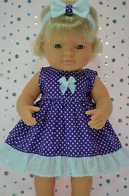 Dolls Clothes For 38cm Miniland Doll PURPLE POLKA DOT DRESS~HEADBAND