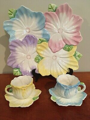 Vintage 1992 THE BOMBAY CO Tea Set 8 Piece Cup & Saucer Flower Petals With Tray