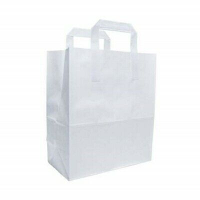Large White Greaseproof Food Carrier Bag [25-200 pcs] Gift Bags, White Bags
