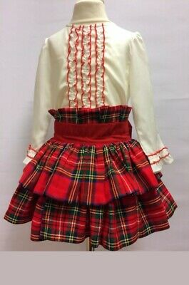 Romany Spanish Tartan Girls Skirt Set Red & Blue  Green AGE 4 Christmas