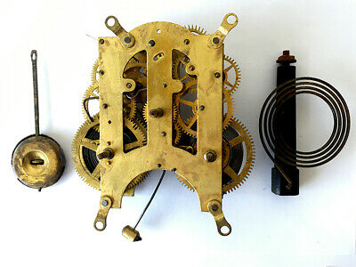Ansonia Clock Co. Antique American 8 Day Movement With Gong And Pendulum